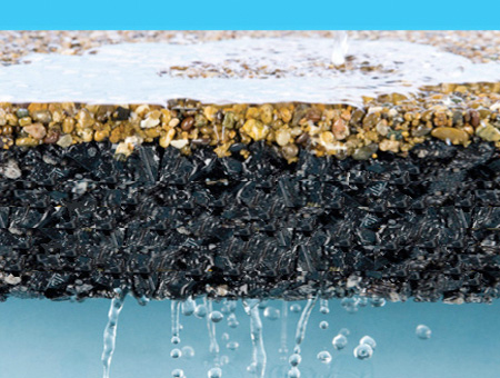 water flows though resin bound permeable paving