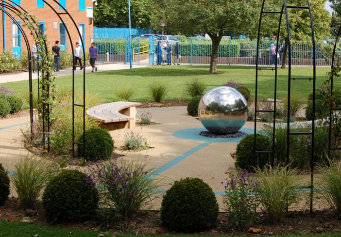 Circle-of-Life Memorial-Garden-for-Cranford-Community-College-side-view