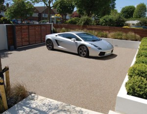 Clearstone installation Hove, East Sussex, Lamborghini on new resin gravel drive