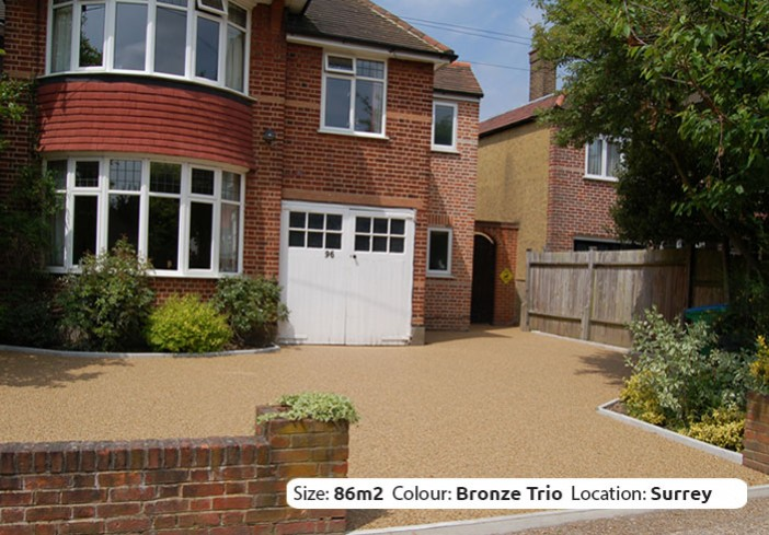 Resin Bound Driveway in Bronze Trio colour, Hampton, Surrey