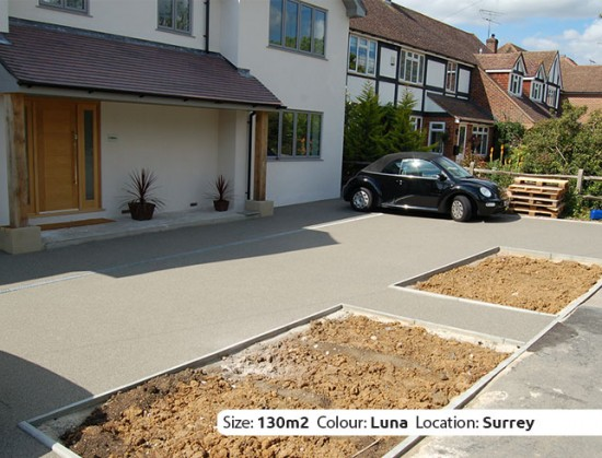 Resin Bound Driveway in Luna colour, Oxshott, Surrey by Clearstone