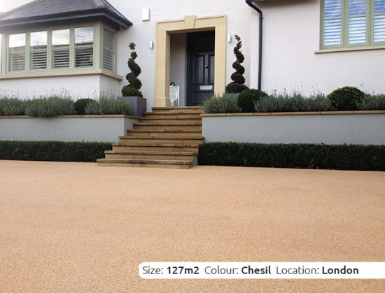 Resin Bound Driveway in Chesil colour, Wimbledon, London by Clearstone