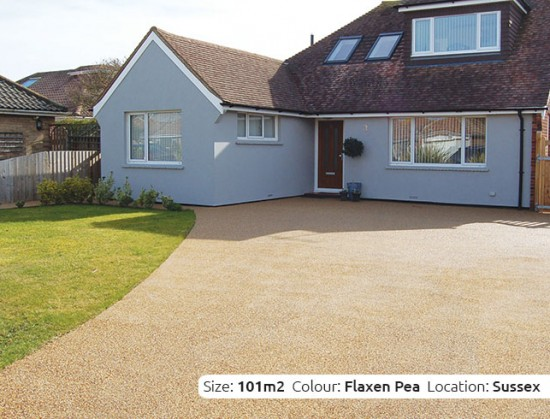 Resin Bound Driveway in Flaxen Pea colour, Shoreham, Sussex by Clearstone