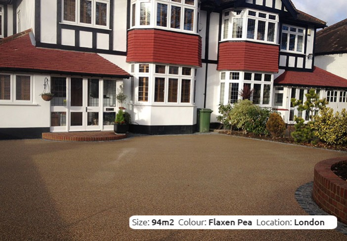 Resin Bound Driveway in Flaxen Pea colour, Beckenham, London by Clearstone