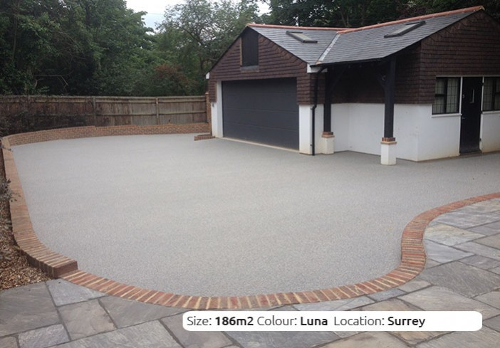 Resin Bound Driveway in Luna colour, Esher, Surrey by Clearston