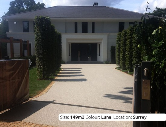 Resin Bound Driveway in Luna colour, Cobham, Surrey by Clearston