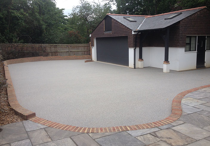 Resin Bound Gravel Driveway in Luna colour, Esher, Surrey installed by Clearstone