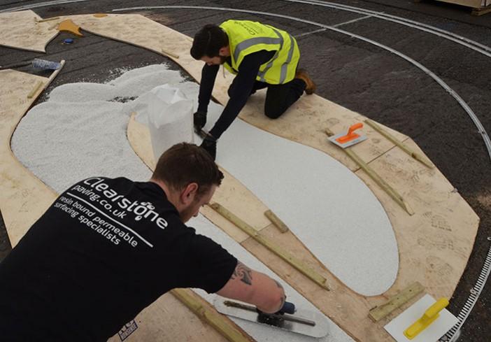 Clearstone installing Albion Seagull logo - Amex Community Stadium Brighton