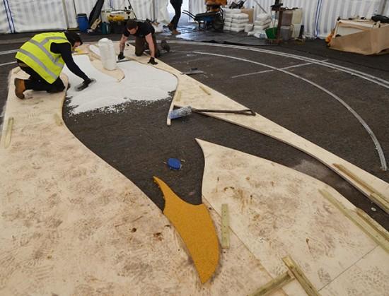 Clearstone installing resin bound Albion Seagull logo - Amex Community Stadium Brighton