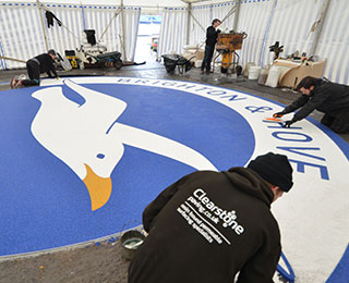 Resin bound logo at the Amex for B&H Albion football club