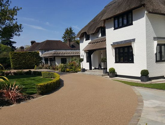 Resin bound drive for thatched cottage in Farnborough Park